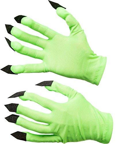 Orlob Kostüm Zubehör Handschuhe grün mit Krallen Monster Halloween