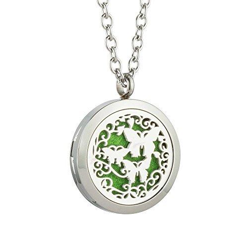 JAOYU ätherisches Öl Diffusor Medaillon Halskette für Männer Aromatherapie Tier Schmuck Edelstahl Charms Medaillons - Teen Mädchen Jungen Geschenke