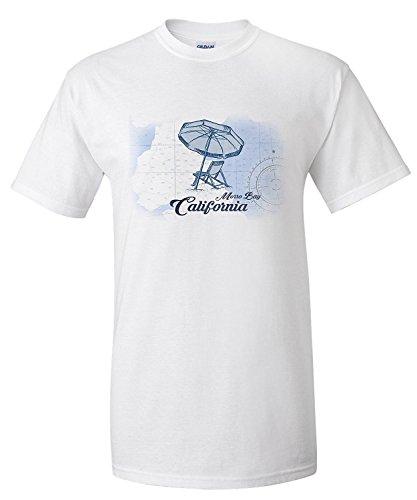 Morro Bay, California - Beach Chair and Umbrella - Blue - Coastal Icon (Premium T-Shirt) (Chair Bay)