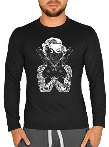 Cooles Männer Herren Langarmshirt longsleeve Marilyn Monroe Waffen Gangster Tattoo lustiger Aufdruck Farbe schwarz Schwarz
