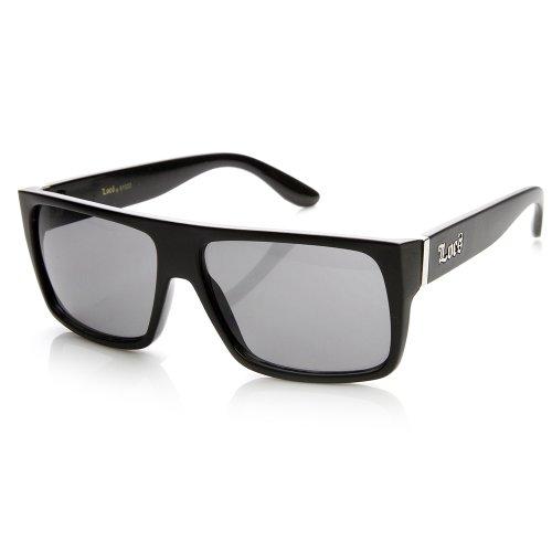 LOCS EYEWEAR Locs Hardcore Shades Klassisches Flat Top Rechteck Sonnenbrillen 1 55 Rauch Einheitsgröße Matt-schwarz