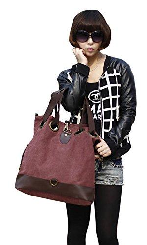 Damen Handtasche Vintage Umhängetasche Canvas Shopper Tasche Schultertasche Große Freizeittasche Tragetasche Lila