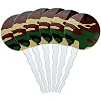 Set of 6 Cupcake Picks Toppers Decoration Pattern Prints A-K - Camouflage Army Soldier by (Army Camouflage Pattern)