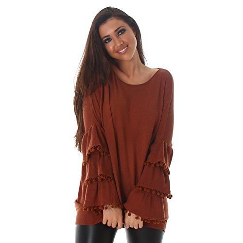 VOYELLES Damen Pullover im Oversized Look, Pulli mit Rüschenärmel und Rundhalausschnitt, in vielen Farben erhältlich, Gr. 34-40 Camel Braun