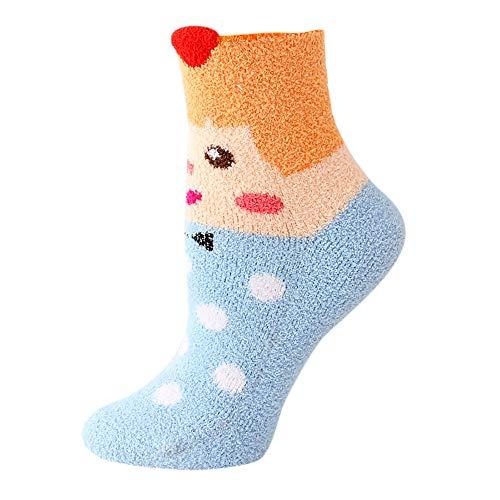 KaloryWee Damen Wintersocken Stoppersocken Home Slippers Karikatur Socken Beiläufige Plus Samt Cute Cartoon Starke Warme Karikatur Korallenrote Vlies Socken -
