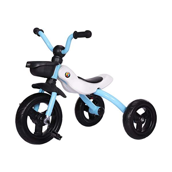 BGHKFF Childrens Folding Tricycle 2 To 6 Years Pleasantly Padded Seat Non-slip Handles Kids Tricycle Anti-slip Pedals Folding Trike Maximum Weight 25 Kg,Blue BGHKFF ★Material: High carbon steel frame, suitable for children aged 2-6, maximum weight 25 kg ★Safe design: golden triangle structure, safe and stable ★Scientific design function: body can be folded; comfortable soft seat; metal connector; non-slip grip; non-slip pedal; increase storage basket 1