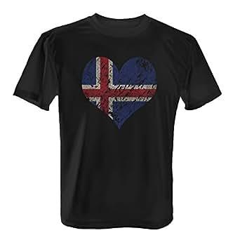 EM 2016 I Love Iceland – Herren T-Shirt von Fashionalarm | Shirt für Fußball Fans | Print im Vintage Destroyed Used Look | Europameisterschaft Europameister Trikot Herz Island