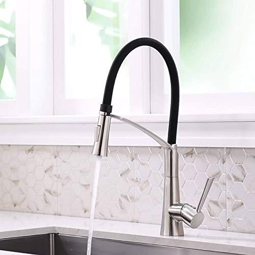 Küchenarmatur Edelstahl, CREA 360° Drehbarer Wasserhahn Küche mit Herausziehbarer Dual-Spülbrause, Schwarzem Silikon Weichschlauch Spültischbatterie mit Duschkopf in Satin (Edelstahl Küchenarmaturen)
