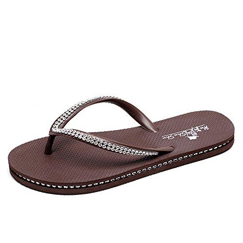 Cailin Sandals, Débardeur de mode Sandales plates sandales Sandales imperméables (rose / noir / bleu / marron) ( Couleur : Bleu , taille : 39 ) Noir