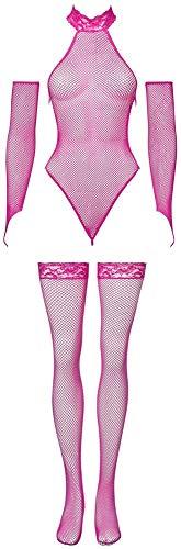 Orion Body Set - sexy String-Body mit Armstulpen und Strümpfen, Reizwäsche in erotischer Netz-Optik, Bodysuit mit Spitze, pink (S-L)