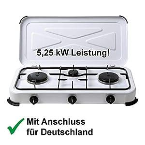 CAGO Campingkocher Gaskocher 3-flammig 50mbar Gasherd Propan-Gas-Kochplatte 2 4