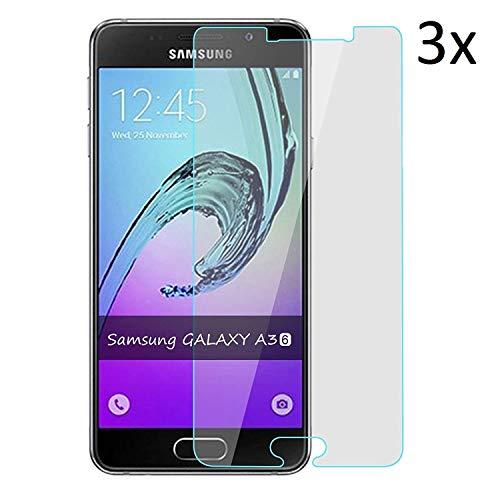 Cardana | 3X bruchsicheres Panzerglas für Samsung Galaxy A3 2016| Schutzfolie aus 9H Echt Glas