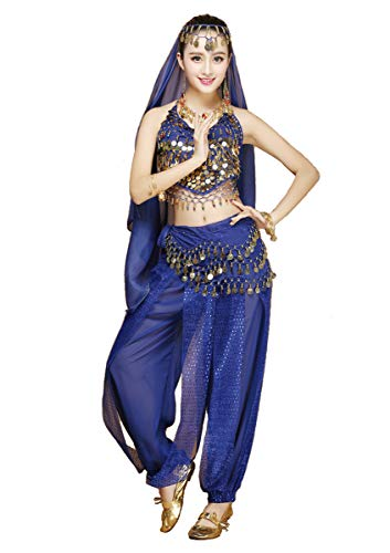 Party Kostüm Bollywood - Grouptap Frauen Bauchtänzerin 4-teilige Kostüm-Set Outfit mit Top-Hosen Kopf Schleier Hüfttuch für arabischen ägyptischen Tanz (Blau) (One Size)