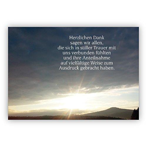 Trauer Dankeskarte inkl Umschlag mit Foto Abendstimmung: Herzlichen Dank sagen wir allen, die sich in stiller Trauer mit uns verbunden fühlten und ihre Anteilnahme. | Danksagungs-Karte Trauerfall