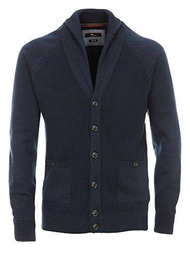 Venti Messieurs Cardigan tricoté 100 % coton slim fit bleu foncé