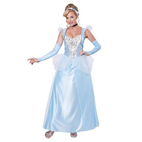 Cinderella Classic Damen Kostüm, Disney Prinzessinnen-Märchen Bademantel für Erwachsene, Blau