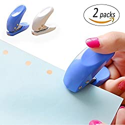 REVEW 4PCS Mini 1-Hole Paper Hole Punch, Handheld Portable Puncher,10 Sheets at One Time, Random Color