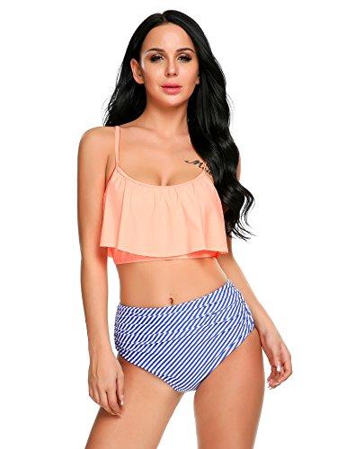 cooshional Damen Flounce Bikini Push Up High Waisted Bikini Set Badeanzug  Bademode Blau