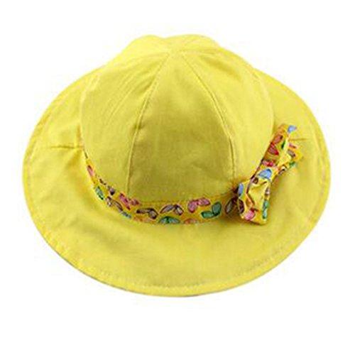 Wachsen Eimer (Hillento Baby Kinder Mädchen Jungen Kleinkind Fischer Eimer Hut Muster breiten Rand Outdoor Cap Sonnenhut, Bowknot, gelb)