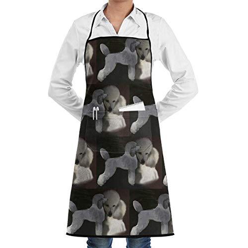 lbare Latzschürze mit Tasche, Poodles in Grey and White Retro Schürzes Kitchen Chef Bib Professional for BBQ Baking Cooking for Men Women Cooking, Baking, Crafting, Gardening, BBQ ()