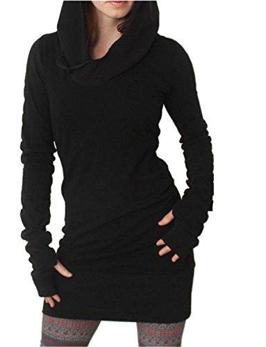 ZARU Mujeres de invierno manga larga con capucha Hoodies Slim Fit Coat Mini falda Color puro Negro (L)