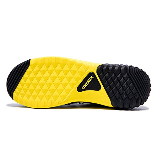 Onemix Air Uomo Scarpe da Ginnastica Corsa Sportive Running Sneakers Fitness Interior Casual Yellow Black
