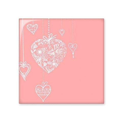 DIYthinker Valentinstag Rosa-weißes Herz-geformte Blumen Reben Illustration Muster Keramik Bisque Fliesen für Dekorieren Badezimmer-Dekor Küche Keramische Fliesen Wandfliesen M
