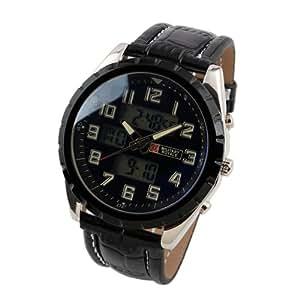 ESS Military Royale Montre d'aviateur Quarz pour homme avec bracelet en cuir