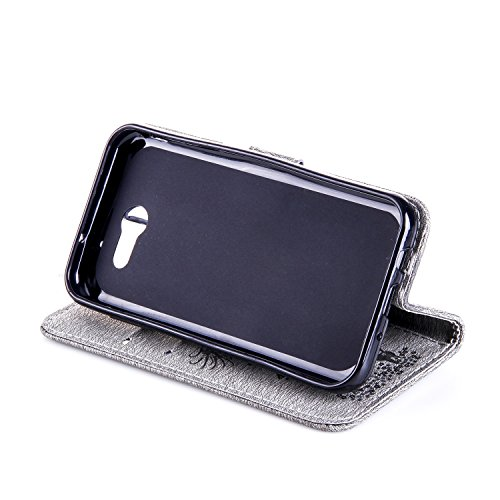 Für Samsung Galaxy J3 Prime Case, geprägtes Girl Pattern Rhinestone PU Leder Brieftasche Case Cover Flip Stand Case mit Halter & Lanyard & Card Slots ( Color : Darkblue ) Gray