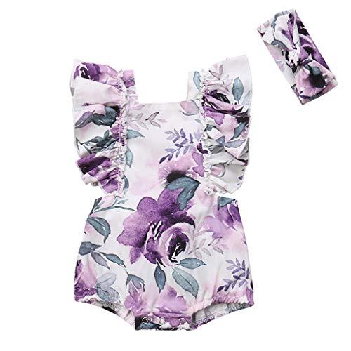 Baby Strampler+Blumen Haarband LUCKDE Einteiler Schlafanzug Bodys Stramplerset Mädchen Haarreif Babystrampler Set Jumpsuit Sommer ()