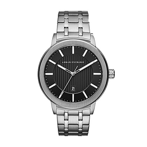 Armani Exchange Herren-Armbanduhr Quarz One Size, silber, schwarz