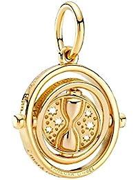 Pandora Colgante de giratiempo giratorio de Harry Potter, aleación chapada en oro de 18 quilates, 3,8 x 16,8 x 19,1 mm