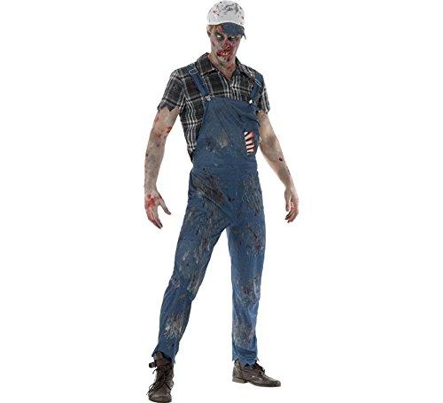 Smiffys Herren Zombie Hinterwäldler Kostüm, Latzhose mit angebrachten Latex Rippen, Oberteil und Baseball Kappe, Größe: XL, 46854 (Zombie Baseball Kostüm)