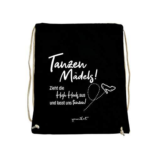 younikat Turnbeutel mit Spruch Tanzen Mädels I ca. 37 x 46 cm I Baumwolle-Sportbeutel in schwarz zum Umhängen Zuziehen für Mädchen Teenager Damen I dv_399