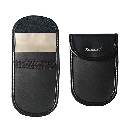 xuanpad Car Key Signal Blocker-Case Keyless Entry Fob Guard Signal Blocking Pouch, Antitheft Lock Devices Bag, Steering Wheel Lock And Healthy Cell Phone Privacy Protection (Black)