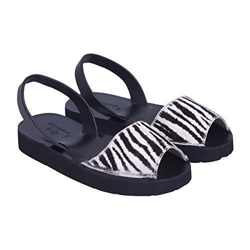 Avarca Minorquines Creepers zebrato, Sandali donna Multicolore (Nero e Bianco)