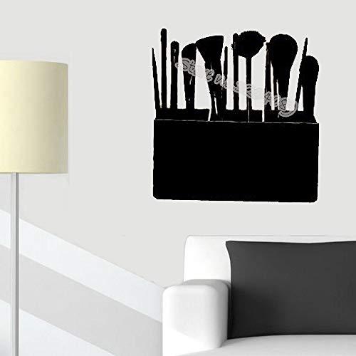 yaoxingfu Cosmetic Case Makeup Brushes Wall Sticker Fashion Make Up Studio Salone di Bellezza Ragazza Donna Cosmetici Rimovibili Sfondi Rosso 56x56cm