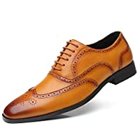 Brogue Shoes Men Loafer Leather PU Classic Oxford Pointed Toe Dress Shoes Derby Moccasins Lace Up Formal Business Office Yellow 12 UK (47 EU)