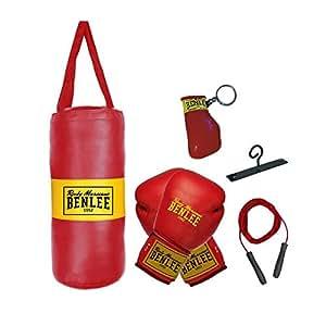 Benlee Punchy Set sac de frappe + gants + corde à sauter enfant Rouge