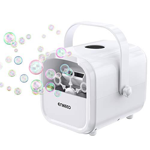 ENKEEO Macchina per Bolle Professionale, Bubble maker Portatile, Velocità Regolabile tramite Touchscreen, Motore silenzioso, Alimentata a USB QC3.0 o Batterie, Ideale per le Feste, Matrimonio, Picnic