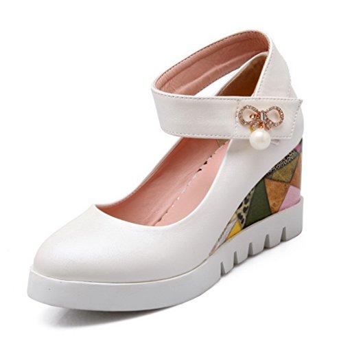 AllhqFashion Femme Couleur Unie Pu Cuir à Talon Haut Rond Velcro Chaussures Légeres Blanc