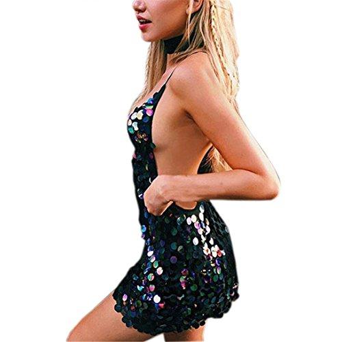 Vestito elegante donne kword sexy halter scollo a v abito bodycon paillettes tuffo clubwear mini vestito da swing senza maniche abito da cocktail partito camicetta casual (nero, s)