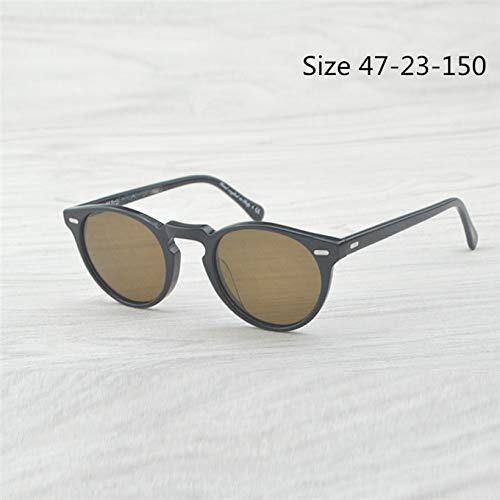 LKVNHP Hohe Qualität Gregory Peck Männer Frauen Sonnenbrille Vintage Polarisierte Sonnenbrille Retro Sonnenbrille Oculos De SolSchwarzVs Braun(47Mm)