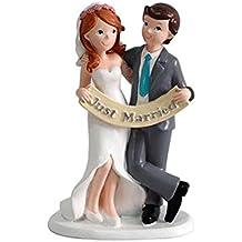 """DISOK - Figura Pastel Just Married """"Recién Casados"""" Figuras para el pastel, Tartas Nupcial de Bodas Casados, Comprar Baratas Online Bodas Outlet"""