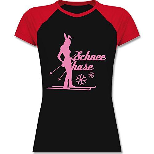 Après Ski - Ski Schneehase - zweifarbiges Baseballshirt / Raglan T-Shirt für Damen Schwarz/Rot