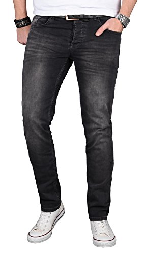 A. Salvarini Designer Herren Jeans Hose Regular Slim Fit Jeanshose Basic Stretch [AS-057 - W36 L30]