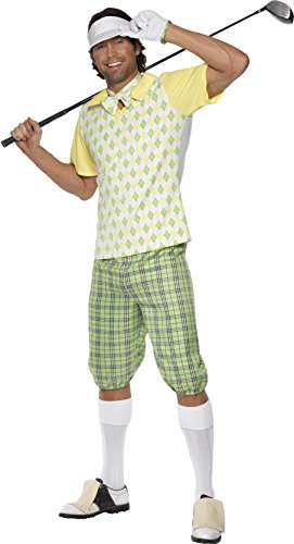Smiffys, Herren Golfer Kostüm, Schirmmütze, Shorts, Oberteil, Fliege und Handschuhe, Größe: L, (Golfer Kostüme)