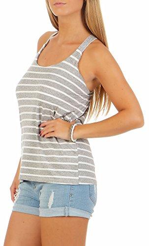 Malito Damen Top Gestreift | T-Shirt mit gekreuzten Trägern | Basic Oberteil �?Trägertop �?ohne Arm 1331 Hellgrau