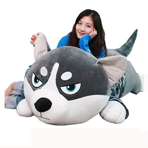 Unbekannt Husky Puppe Zwei Hab Puppe niedlich Plüschtier Hund Mädchen Schlafkissen Faule Puppe groß (Size : 100cm) (Große Niedliche Plüschtiere)