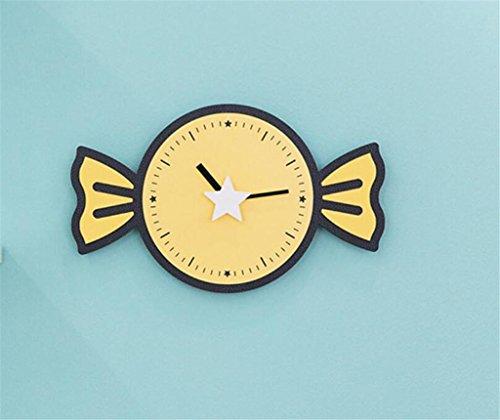 Süßigkeit Nette kreative Wanduhr Wohnzimmer moderne einfache Haushalt Uhr Personalisierte Kinderzimmer Uhren Keine Batterie , yellow-WEIQI